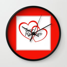 Just Married Red Hearts Wall Clock