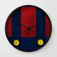video game Wall Clocks featuring Video Game Poster: Plumber by Justin D. Russo