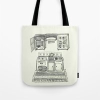 kitchen Tote Bags featuring Kitchen by piankaB