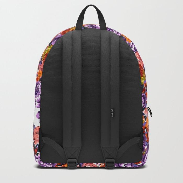 Seamless Flowers Pattern Backpack