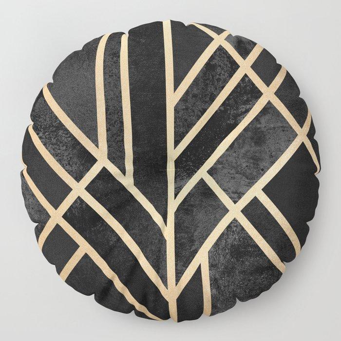 Art Deco Black Floor Pillow