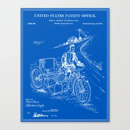 Motorcycle Sidecar Patent - Blueprint Canvas Print