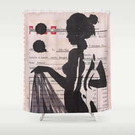 Emma - ink drawing over vintage commercial invoice Shower Curtain