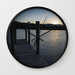 derwentwater jetty sunset Wall Clock