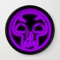 magic the gathering Wall Clocks featuring Magic the Gathering, Neon Black Mana by Thorn Blackstar