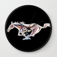 mustang Wall Clocks featuring Mustang..... by Wood-n-Images