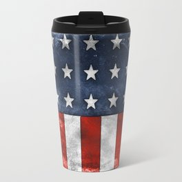 American Flag Stars and Stripes Distressed Grunge Travel Mug
