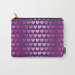 Pink hearts arranged in pink color lines Carry-All Pouch