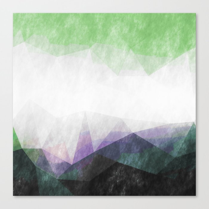 On the mountains- green watercolor - triangle pattern Canvas Print