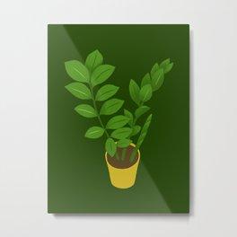 ZZ Plant Zamioculcas Tropical Houseplant Painting Metal Print