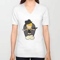 gangster V-neck T-shirts featuring Gangster Style by Jaqueline Teixeira