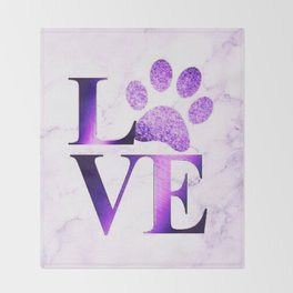 Love is a Four Letter Word - Purple Marble Throw Blanket