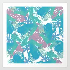 Tropical Blue Frog Pattern Art Print