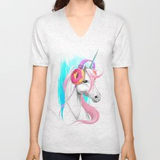 Unicorn in the headphones of donuts Unisex V-Neck