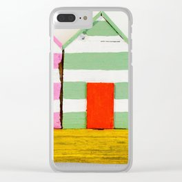 """Rustic Driftwood """"Surf Shacks"""" Beach Scene with Surf Board Clear iPhone Case"""