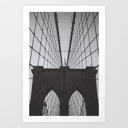 New York Brooklyn Bridge black and white photograph 1990's zollione shop Art Print