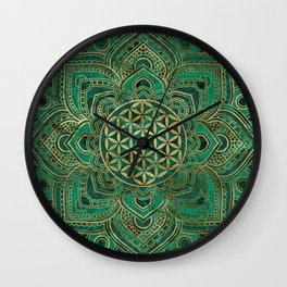 Flower of Life in Lotus - Malachite and gold Wall Clock