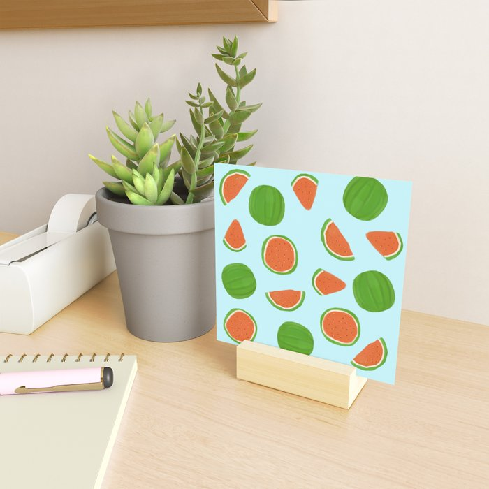 Summer fruit on blue Mini Art Print