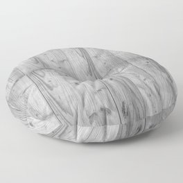 Wood Planks in black and white Floor Pillow