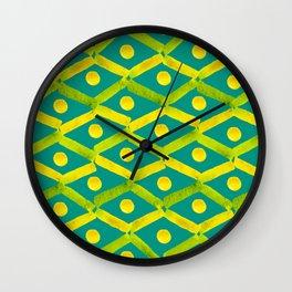 Chartreuse + Lemon - Diamonds + Dots On Teal  Wall Clock