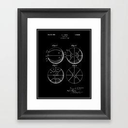 Basketball Patent - Black Framed Art Print