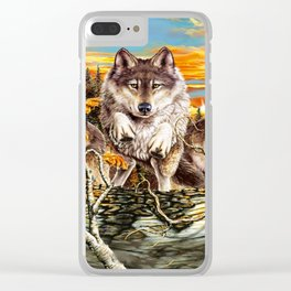 Pack of wolves running Clear iPhone Case