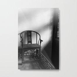 Antique Chair - bw Metal Print