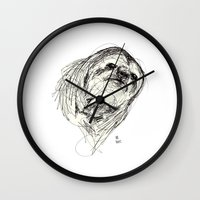 sloth Wall Clocks featuring Sloth by Ursula Rodgers