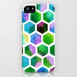 Green Hexagons iPhone Case