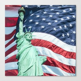 statue of liberty with us flag Canvas Print