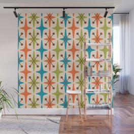 Mid Century Modern Abstract Star Pattern 441 Orange Brown Turquoise Chartreuse Wall Mural