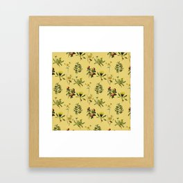 Wild Forest & Field Yellow Flower Herb Pattern Framed Art Print