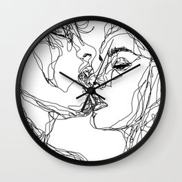 kiss more often (B & W) Wall Clock