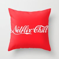netflix Throw Pillows featuring Netflix and chill cola by BomDesignz