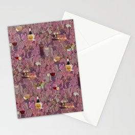Wine and Cheese Pattern Print Stationery Cards