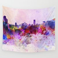 seoul Wall Tapestries featuring Seoul skyline in watercolor background by Paulrommer