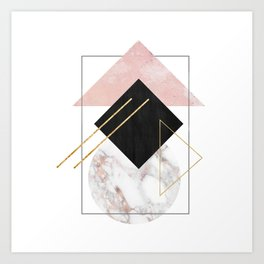 Rose Marble Triangle Art | Geometry Wall Decor | Polygonal Modern Minimalist Abstract Shapes Art Print
