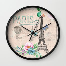 Paris - my love - France Nostalgy- pink French Vintage Wall Clock