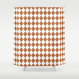 Hazel Brown Modern Diamond Pattern Shower Curtain
