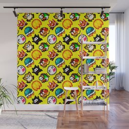 Super M. World enemies pattern | yellow star | retrogaming nostalgic Wall Mural