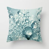sparkles Throw Pillows featuring Droplets & Sparkles by Sharon Johnstone