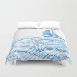 Blue sailboat, watercolor nautical ocean waves sea Duvet Cover