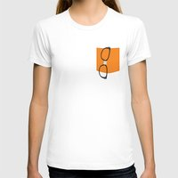 alex vause T-shirts featuring Alex Vause Glasses with Fake Print Pocket by Zharaoh