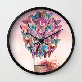 Butterfly Hot Air Balloon Illustration. Wall Clock