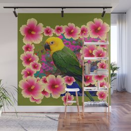 YELLOW HEADED GREEN PARROT PINK HIBISCUS KHAKI FLORAL Wall Mural
