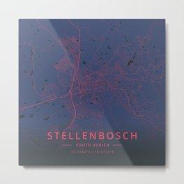 Stellenbosch, South Africa - Neon Metal Print