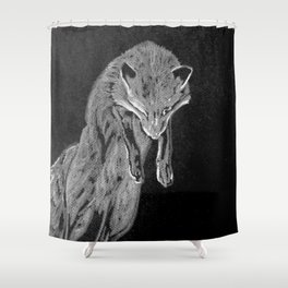 Black and white fox Shower Curtain