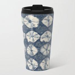 Indigo Spiderweb Shibori Metal Travel Mug
