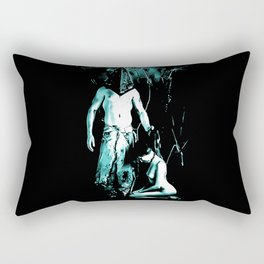 Welcome to Silent Hill - Pyramid Head, sexy erotic nude, cartoon in green tones, submissive girl Rectangular Pillow