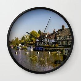 Tudor homes along River Avon. Wall Clock